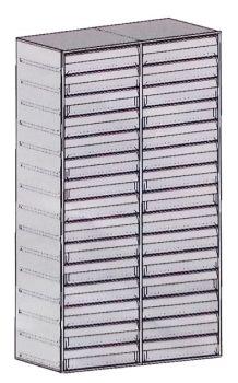 Fiókos betét (1 oszlop, 15 db fiók) 10-es méretű páncélszekrényhez
