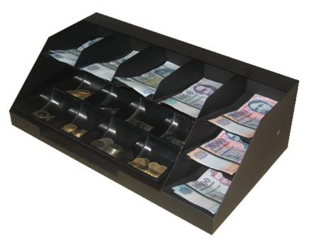 7 chambered banknote container with coin tray