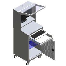 Guruló számítógépes tároló szekrény - monitor védővel