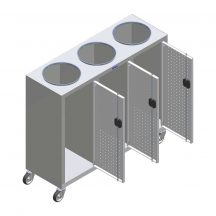 Szelektív hulladéktároló 3-as, egy irányba nyíló ajtók